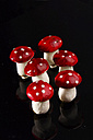 Miniatures of fly agaric mushrooms on black background, close up - HOHF000066