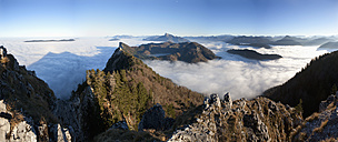 Austria, Salzkammergut, View of alpine foothills covered with fog - WWF002694