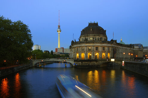 Germany, Berlin, View of Bode Museum and Tv Tower at Spree River - ALE000016