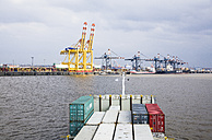 Germany, Bremerhaven, View of container harbour - DIS000034