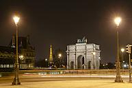France, Paris, Arc de Triomphe du Carrousel, Eiffel Tower in background by night - ON000010