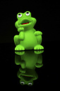 Rubber frog toy on black background, close up - HOHF000112