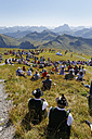 Austria, Vorarlberg, People sitting on Diedamskopf mountain near Schoppernau - SIE003579