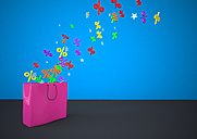 Pink shopping bag sale, percent symbols with stars against blue wall - ALF000059