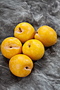 Yellow plums on grey background, close up - CSF018223