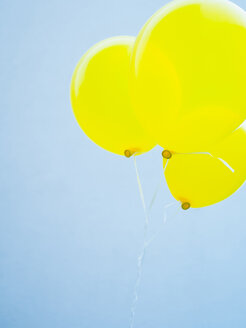 Germany, Munich, Yellow balloons against blue sky - LFF000496