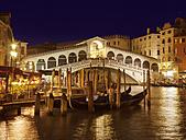 Italy, Venice, Gondolas on Canal Grande at Rialto bridge - HSIF000253