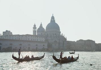 Italy, Venice, Canal Grande and gondolas infront of Santa Maria della Salute church - HSI000245