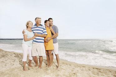 Spain, Family on beach at Palma de Mallorca, smiling - SKF001213