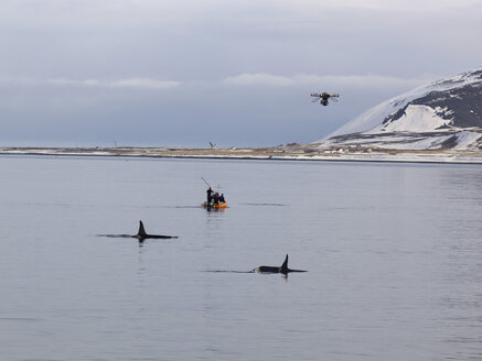 Iceland, View of  research boat with octocopter filming killer whales at coast of Grundarfjordur - BSC000267