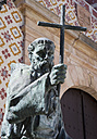 Spain, Ronda, View of Church of Our Lady of Peace and statue with cross - WW002810