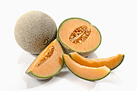 Cantaloupe melons on white background, close up - CSF018539