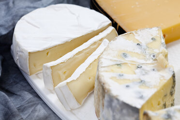 Camembert, gouda and blue cheeses on chopping board, close up - CSF018629