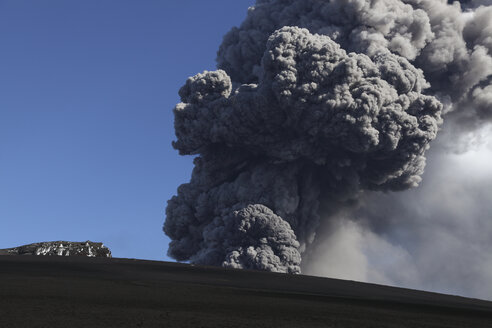 Iceland, View of lava erupting from Eyjafjallajokull - MR001338
