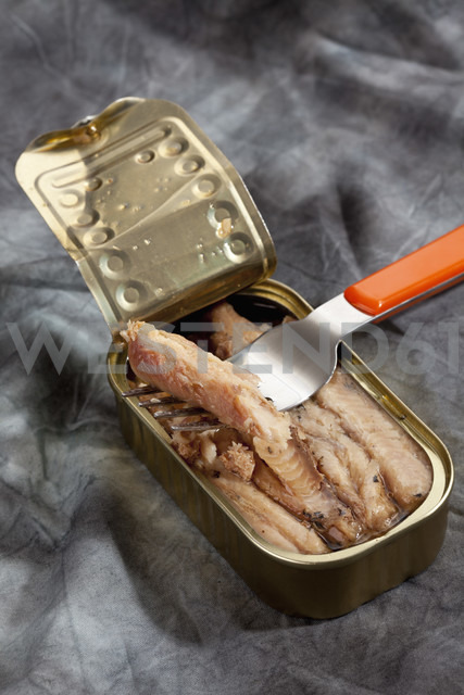 Can of sardines filltes in oil on textile - CSF018770
