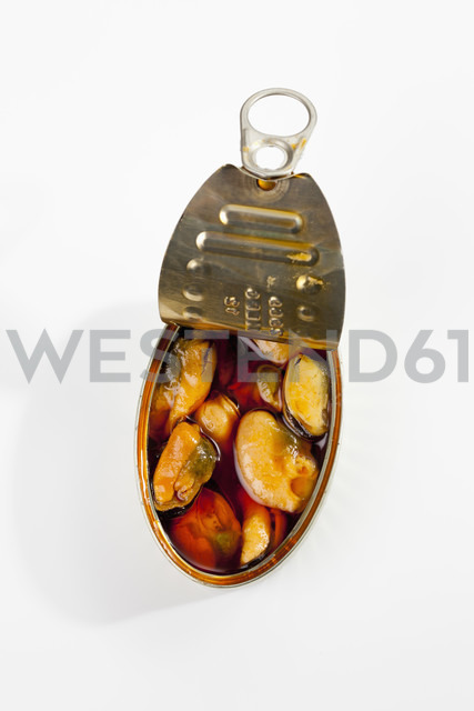 Can of mussels in oil on white background - CSF018773