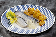 Herring with roasted potatoes and onions on plate, close up - CSF018782