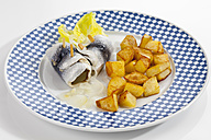 Rollmop herring with roasted potatoes and onions on a plate - CSF018785