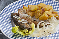 Fried herring with roasted potatoes and onions on a plate - CSF018791