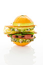Fruit burger on white background, close up - MAEF006476
