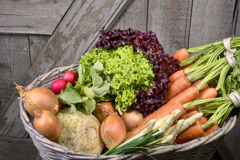 Germany, Carrots, asparagus, celery, onions, garden radish, chives in basket - ONF000153