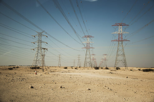 Qatar, Doha, Power poles in desert - FB000037