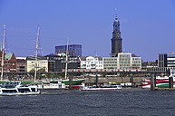 Gernany, Hamburg, View of harbour and St Michaelis church in background - ALE000035