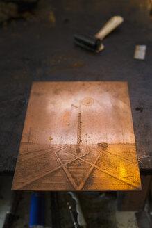 Germany, Bavaria, Copperplate in print shop - TC003412