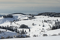 Germany, Baden Wuerttemberg, View of Muenster Valley covered in snow - ELF000041