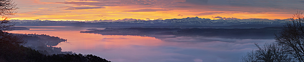 Germany, Baden Wuerttemberg, View of Lake Constance with red clouds and fog above water - SH000680