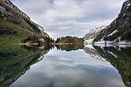 Switzerland,  View of  Lake Seealpsee in Alpstein mountains - ELF000073