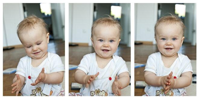 Germany, Kiel, Baby smiling, close up - JFEF000121