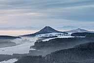 Germany, Baden Wuerttemberg, Constance, Volcanic cone in snow - ELF000101