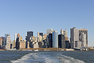 USA, New York State, New York City, View of Lower Manhattan with Hudson river - RUEF001026