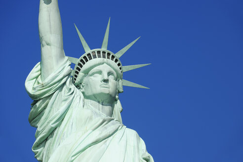 USA, New York State, New York City,  View of Statue of Liberty at Liberty Island, close up - RUEF001058