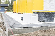Germany, Brandenburg, Gas concrete block at construction site - FK000182