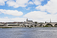 France, Blois, View of Jacques Gabriel bridge and Saint Louis cathedral - GWF002210
