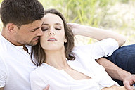 Germany, Bavaria, Young couple falling in love, close up - MAEF006738
