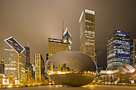 United States, Illinois, Chicago, View of Cloud Gate and Millennium Park - FO005126