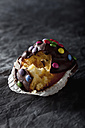 Chocolate muffin with cake case, close up - CSF019405