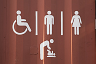 New Zealand, Toilet sign on container - GW002222