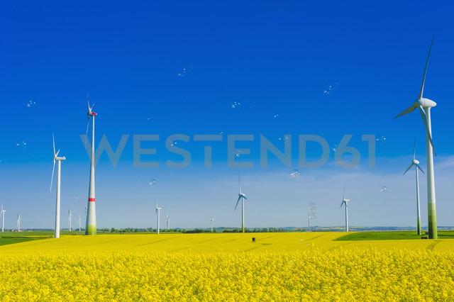 Germany, Saxony, Wind turbines in oilseed rape field - MJF000199