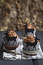 Cupcakes topped with chocolate buttercream and wrappers decorated with deers - ECF000182
