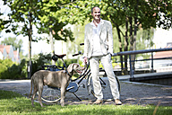 Germany, Bavaria, Mature man with Weimaraner dog, smiling - MAEF006825
