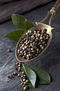 Brass spoon with peppercorns and leaves on textile, close up - CSF019514