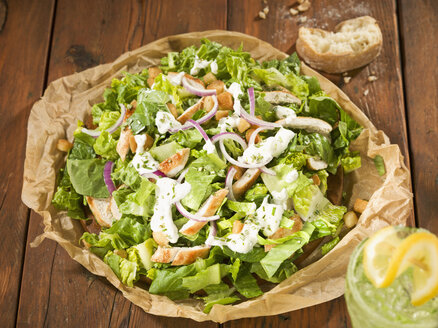 Caesar salad with cool drink, close up - CH000035