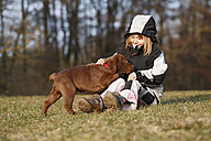 Girl sitting on a meadow playing with labrador puppy - SLF000350