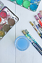 Watercolours with paintbrush, close up - LVF000106