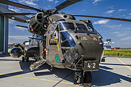 Germany, Laupheim, CH-53-Helicopter in ISAF-configuration with Engine Air Particle Separators and machine gun - HA000160