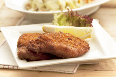 Viennese Schnitzel on plate, close up - OD000058